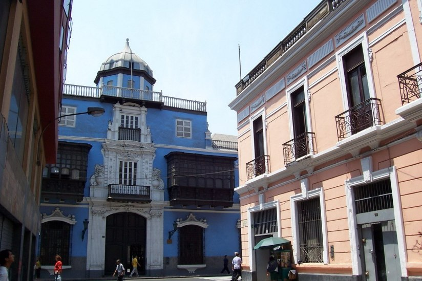 Blue and orange buildings with balconies - Lima