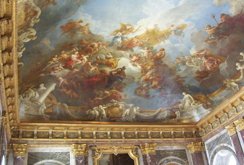 An image of the painted ceiling of the Hall of Mirrors at the Palace of Versailles in France.