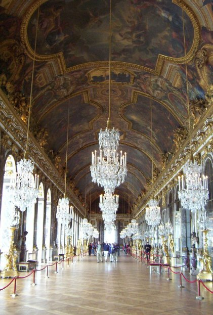 Hall of Mirrors, massive chandeliers - Palace of Versailles - France