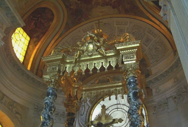 Statue above altar Inside Hotel Des Invalides - Paris - France