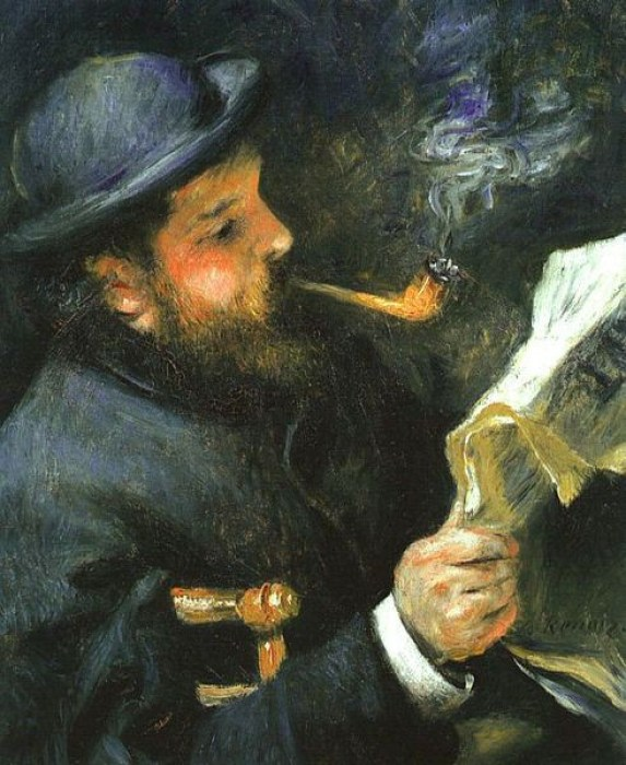 "An image of ""Claude Monet Reading"" an oil on canvas by Pierre August Renoir."
