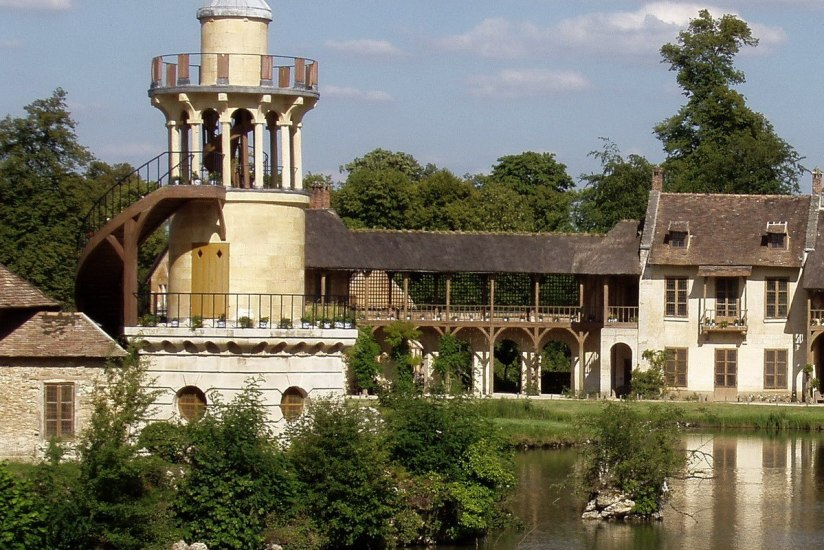 An image of buildings in the Queen's Hamlet at the Palace of Versailles in France.