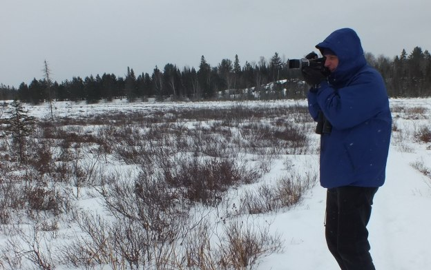 Bob takes time to film wildlife in the Spruce bog in Algonquin Provincial Park - Ontario