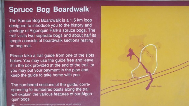 Photo of the Spruce Bog boardwalk sign in Algonquin Provincial Park - Ontario