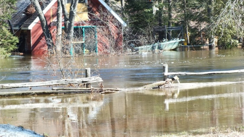 Big East River flood zone - flooded home - Huntsville, Ontario - April 21 2013