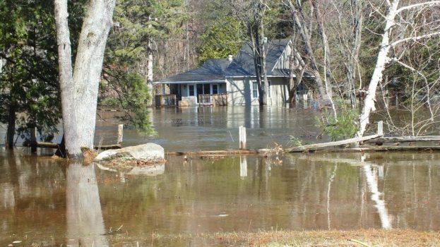 Big East River flood zone - flooded home - Huntsville, Ontario - April 21 2013