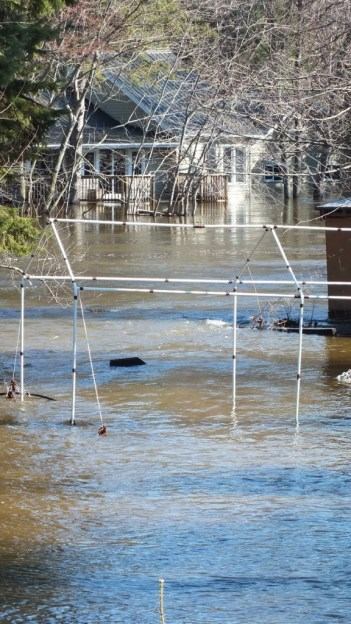 Big East River flood zone - flooded home and property - Huntsville, Ontario - April 21 2013