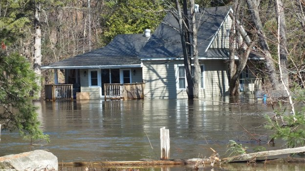 Big East River flood zone - flooded house - Huntsville, Ontario - April 21 2013