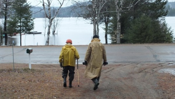 Bob and my dad head to check flooding levels - Oxtongue Lake - Ontario - april 19 2013