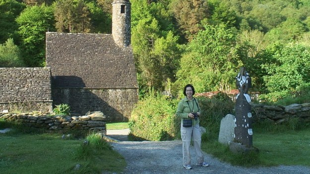 Jean in front of St Kevins Church at Glendalough - Ireland