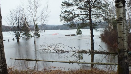 Oxtongue Lake flooding - flooded beach front and docks - April 20 2013