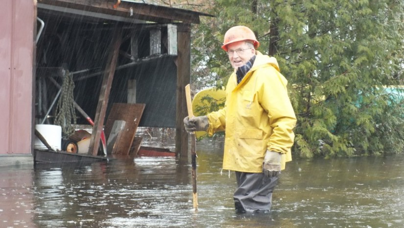 Oxtongue Lake flooding - inspecting the damage in heavy rainfall - April 20 2013