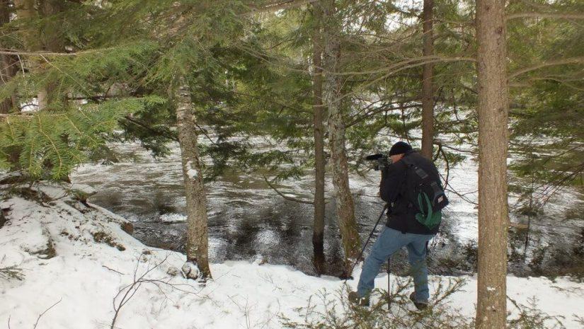 Ragged Falls - Bob films river above falls - Oxtongue River - Ontario - April 20 2013