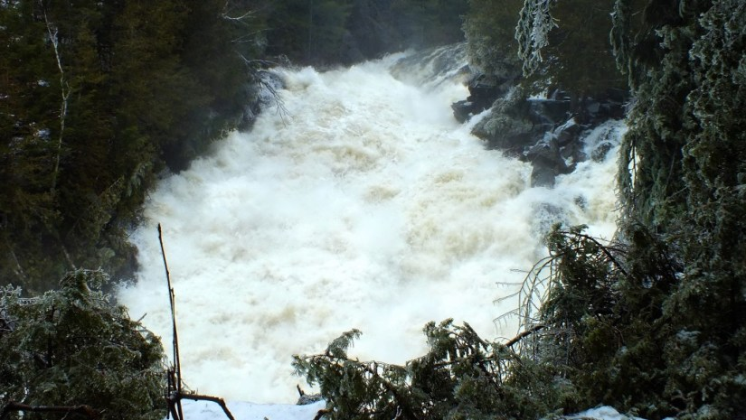 Ragged Falls - a wall of water - Oxtongue River - Ontario - April 20 2013