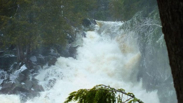 Ragged Falls - falls on the rightside - Oxtongue River - Ontario - April 20 2013