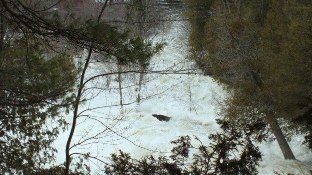 Ragged Falls - looking down to Oxtongue River - Ontario - April 20 2013