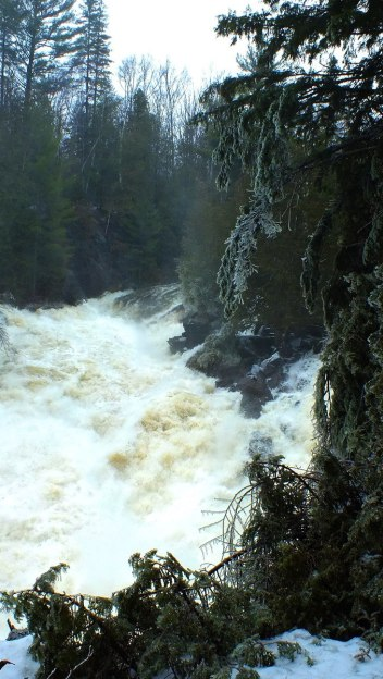 Ragged Falls - spring flooding of falls 1 - Oxtongue River - Ontario - April 20 2013