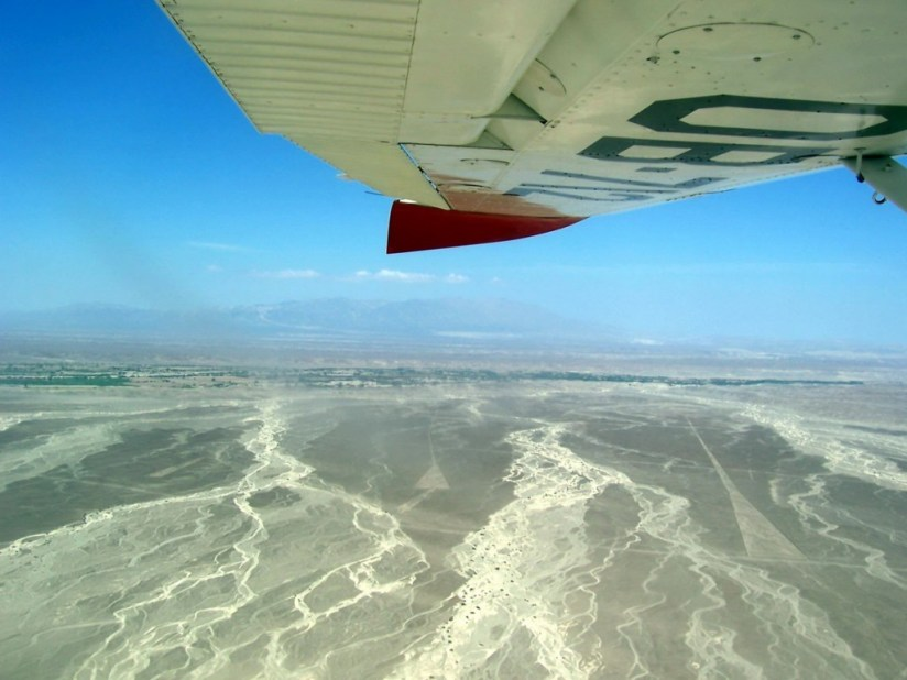 Aerial view of the Nazca valley near Nazca in Peru, South America
