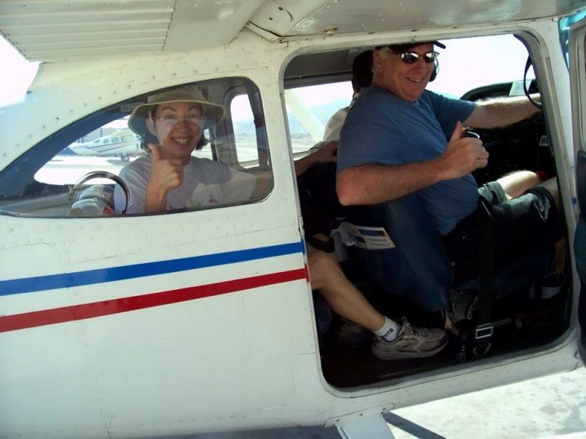 Jean and Bob prepare for take off over the Nazca lines in Peru, South America