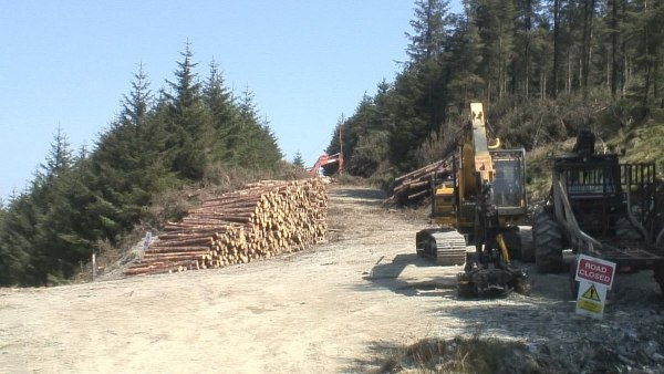 logging equipment along the wicklow way hiking trail - wicklow mountains - ireland