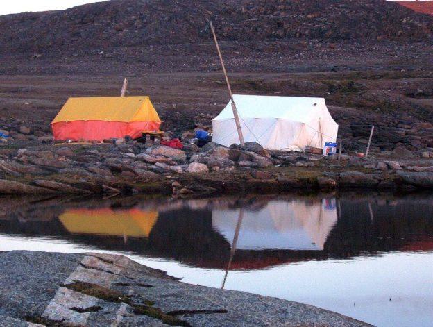 Tents on Kekerten Island in the Cumberland Sound, off Baffin Island, Nunavut, Canada
