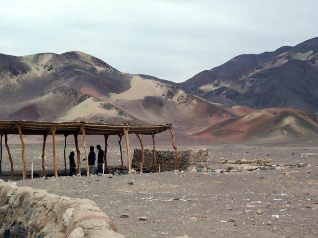 red burnt desert hills - chauchilla cemetery - peru