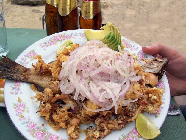 Sea food at restaurant in Playa Lagunillas in Paracas National Reserve, Ica, Peru. at Paracas National Reserve, Ica, Peru.