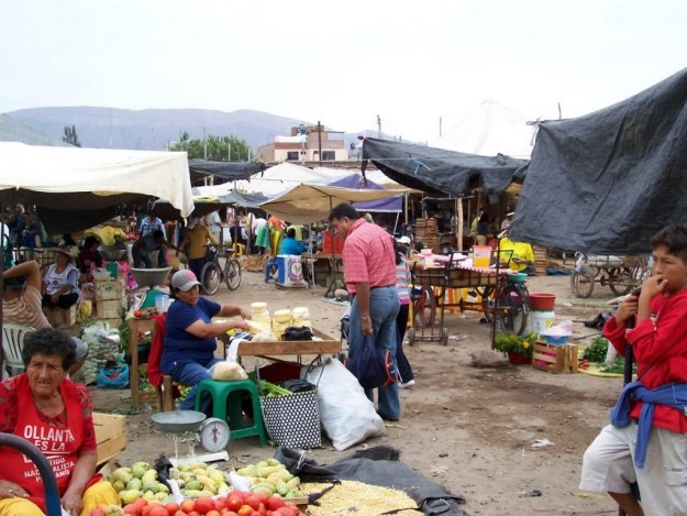 Street market in the village of Nazca, Peru