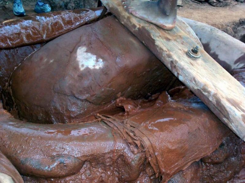 stone boulder used to process gold - nazca - peru
