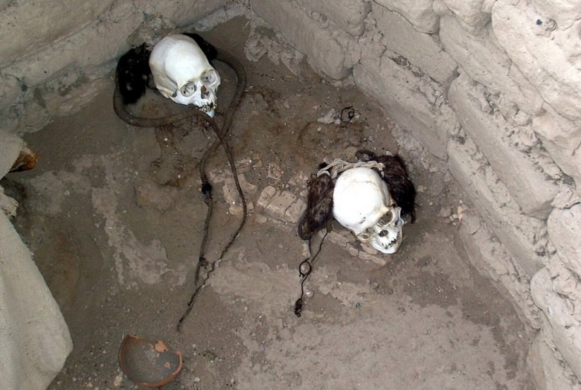 Human skulls at the Chauhilla Cemetery near Nazca in Peru, South America.