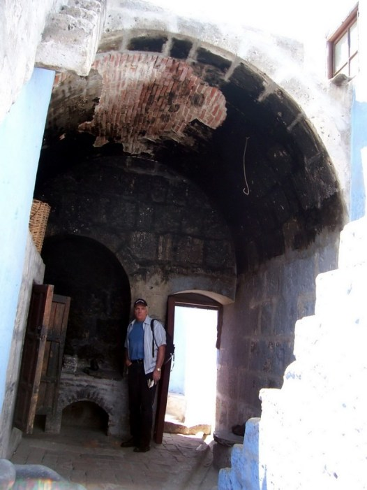 Bob checks out baking oven, Santa Catalina Convent, Arequipa, Peru