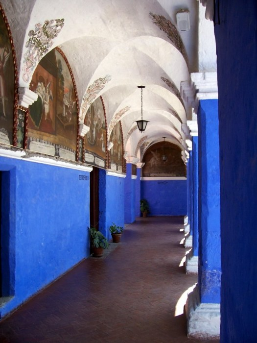Painted hallways of the Orange Tree Cloister, Arequipa, Peru