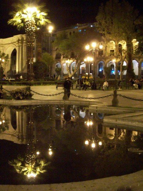 Plaza de Armas at night, Arequipa, Peru