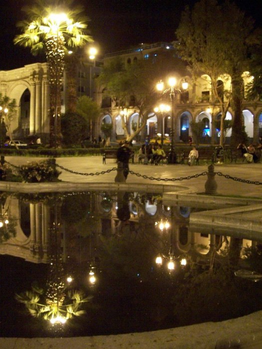 Plaza de Armas at night, Arequipa, Peru