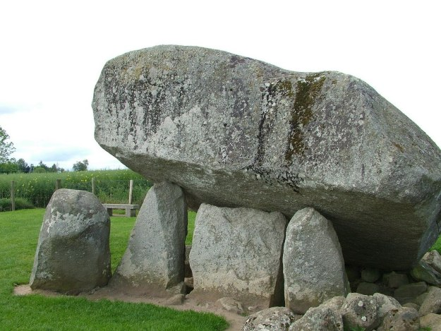 brownshill portal tomb - capstone held aloft by portal stones - county carlow - ireland