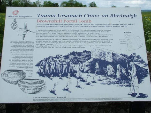 brownshill portal tomb sign - ireland