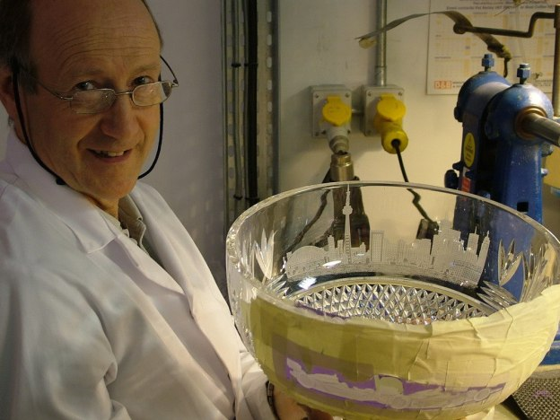 master Waterford crystal carver holds Toronto Indy trophy - waterford crystal plant - ireland