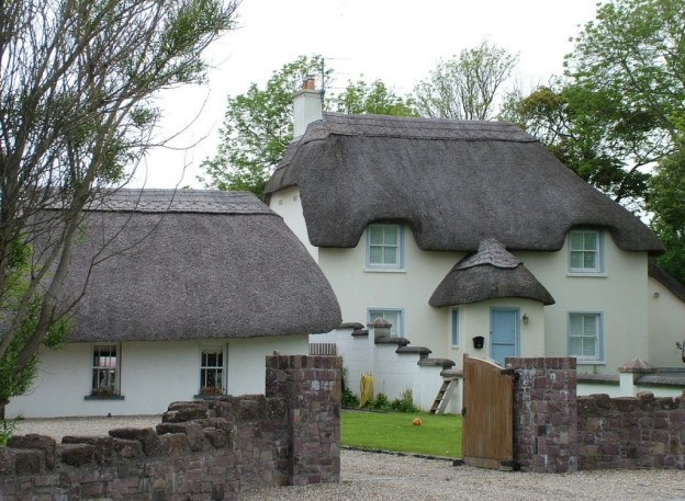 thatched house at dunmore east in county waterford - ireland
