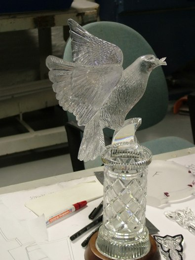 An image of a crystal bird of peace at the Waterford Crystal factory in Waterford, Ireland
