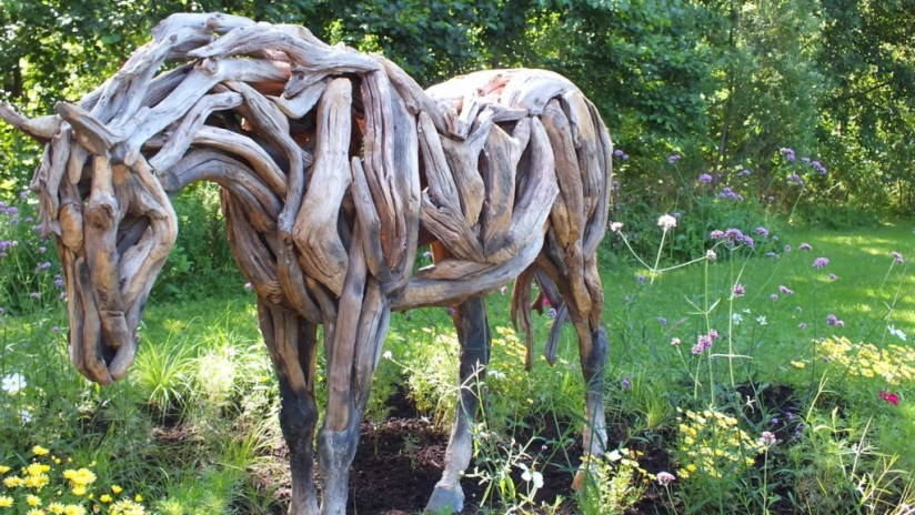 Horse Made From Wood (closeup horse) - Mosaiculture - Montreal Botancial Gardens