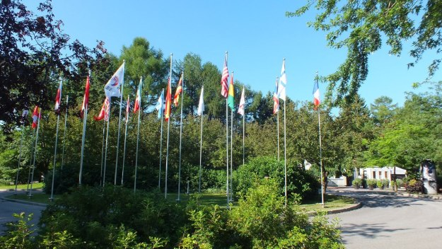 International flags at Mosaiculture 2013 at Montreal Botancial Garden, Montreal, Quebec, Canada
