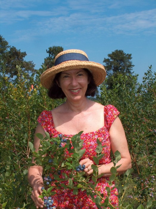 Jean picking blueberries at Fernwood Farms - stayner - ontario
