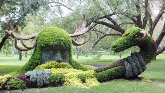 Spirits of the Wood - Cernunnos - Mosaiculture (warrior holds snake) - Montreal Botancial Gardens