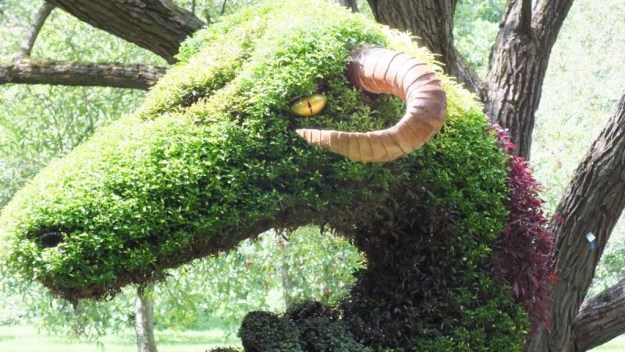 Spirits of the Wood - Cernunnos (closeup head of snake) - Mosaiculture - Montreal Botancial Gardens
