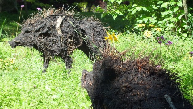 The Boars of Sally Island (two boars) - Mosaiculture - Montreal Botancial Gardens