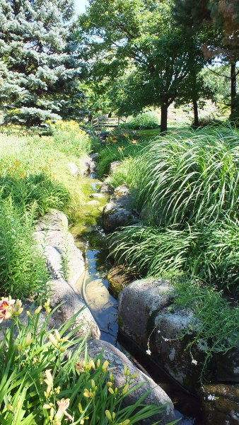 stream through Daylily Garden - Montreal Botanical Garden - Frame To Frame Bob & Jean