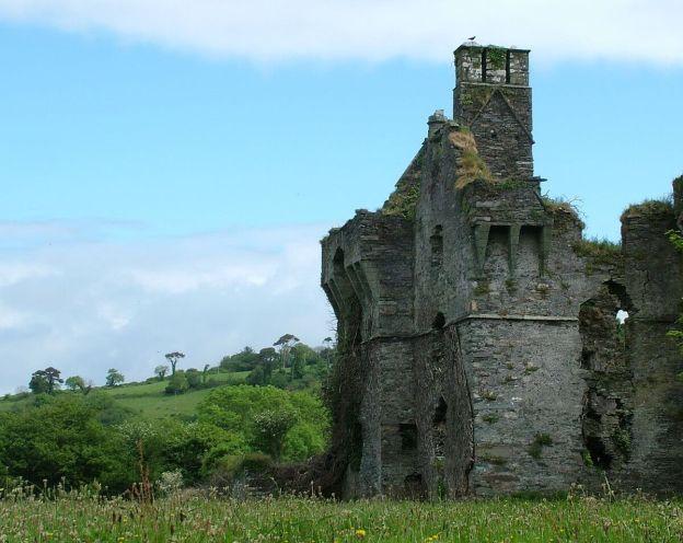 Coppinger's Court ruins, hills beyond castle walls, county cork, Ireland