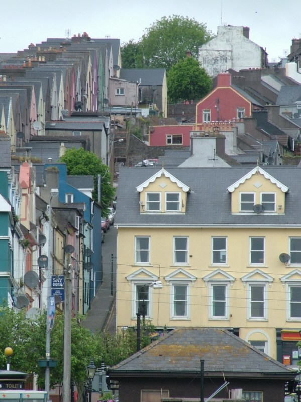 row houses in cobh town, view from harbour, titanic experience, county cork, ireland