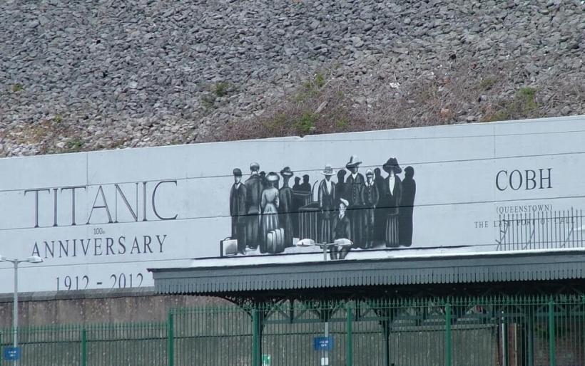 titanic 100 year anniversary sign, cobh, county cork, ireland