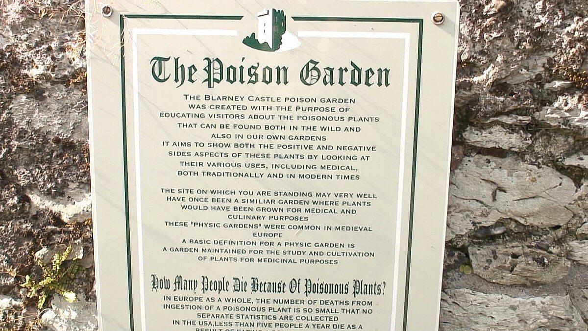 The Poison Garden Entrance Sign At Blarney Castle In County Cork, Ireland
